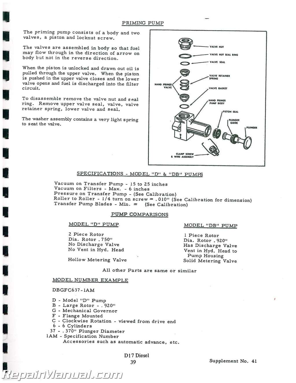 Allis Chalmers D17 Gas And sel Service Manual on