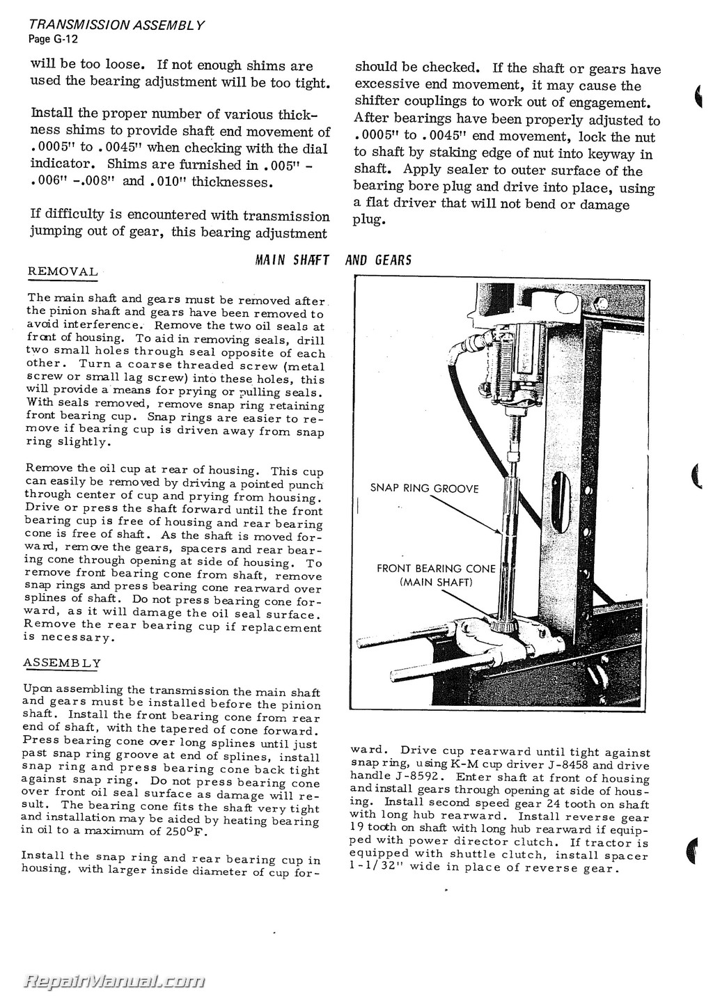 Allis Chalmers H Hd Service Manual Page on Allis Tractor Parts