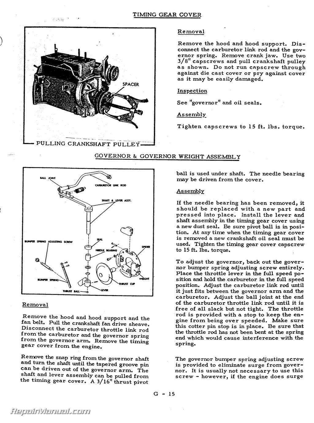 Allis Chalmers Model G Tractor Repair Service Manual- Repair Manuals Online