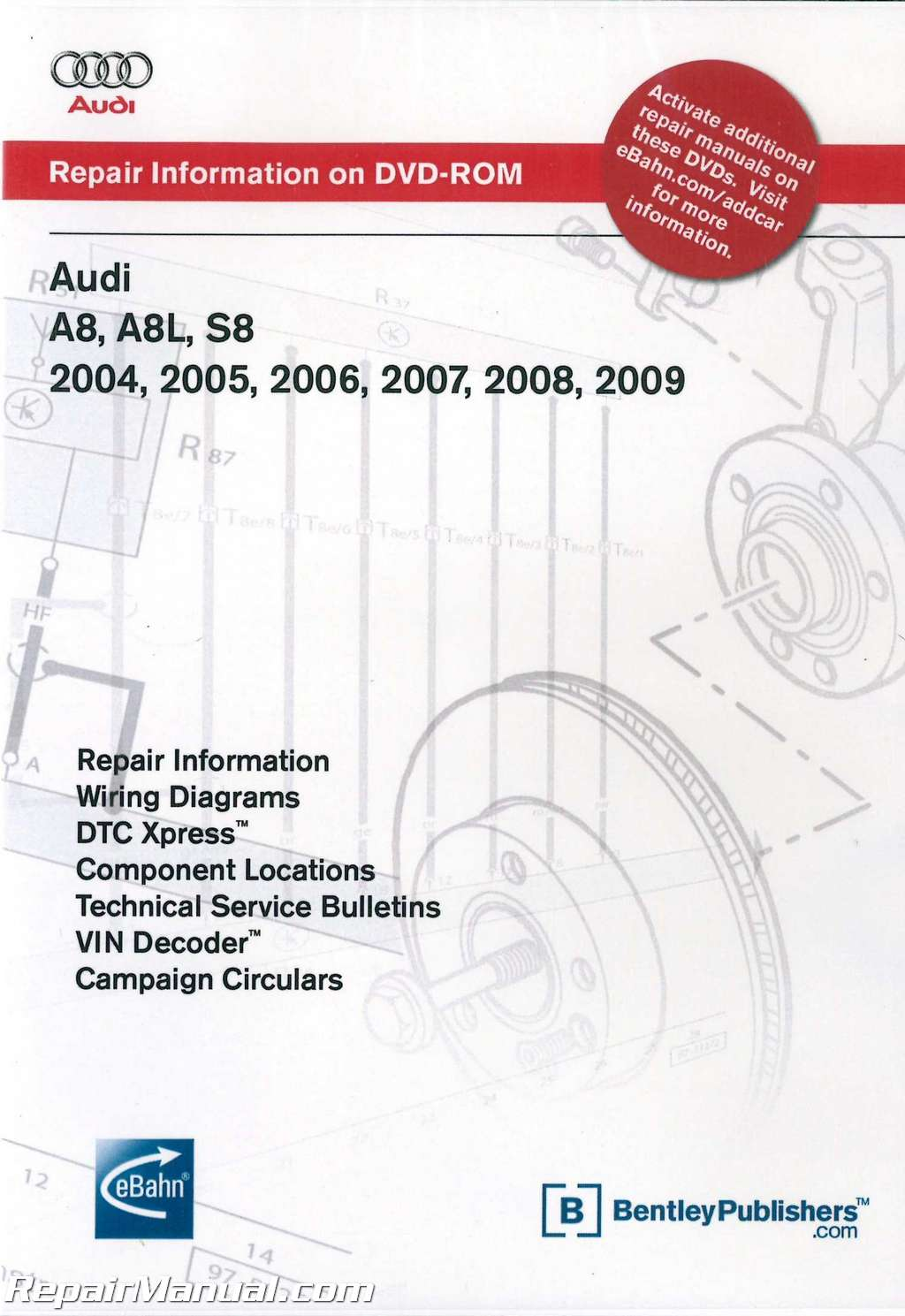 Audi A8 A8L S8 20042009 Repair Manual DVDROM