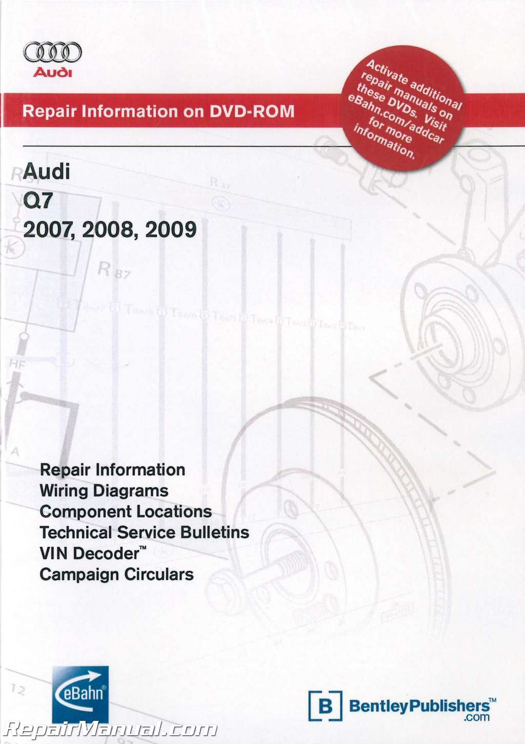 audi q7 2007 2009 repair manual on dvd rom. Black Bedroom Furniture Sets. Home Design Ideas
