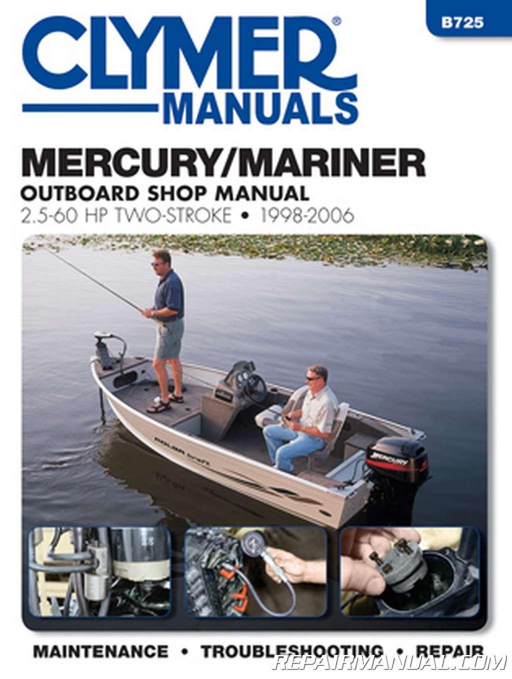 1998 2006 mercury mariner 25hp 60hp outboard boat engine for Boat motor repair shops