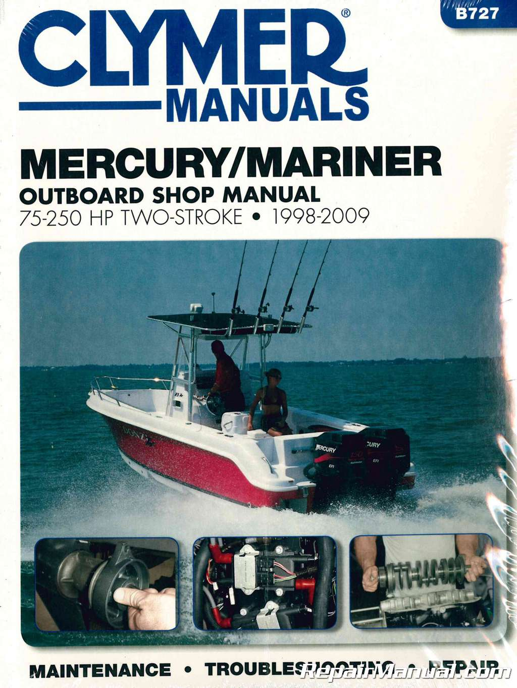 1998-2009 Mercury-Mariner 75-250 hp Two Stroke Outboard Boat Engine Repair Manual by Clymer