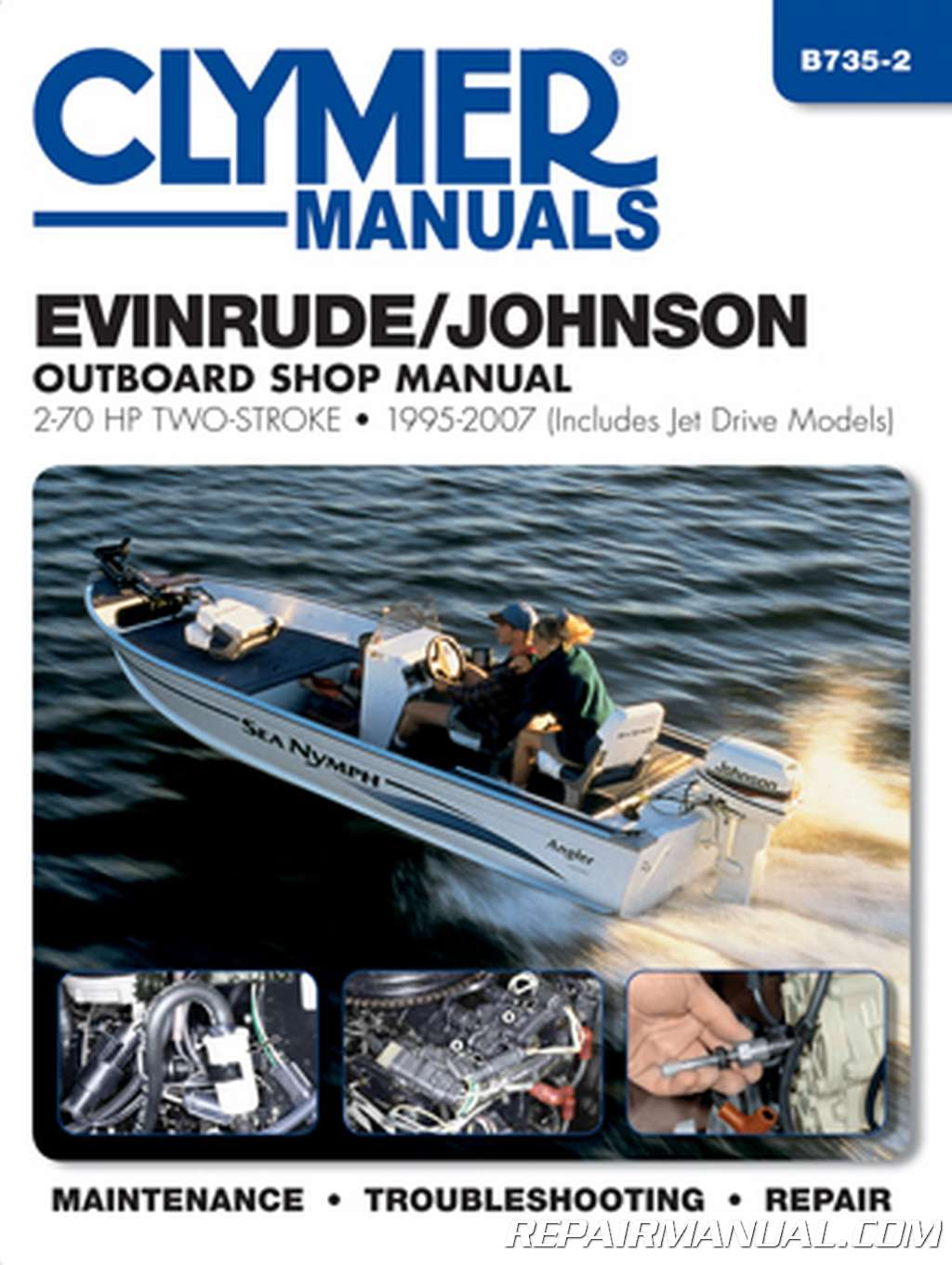 evinrudejohnson outboard shop manual   hp  stroke includes jet drives  clymer