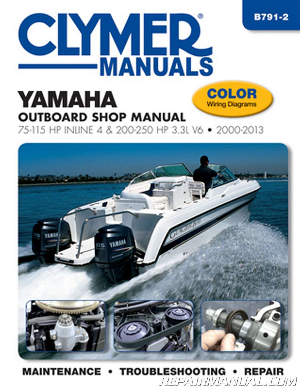 2000 2013 yamaha outboard shop manual 75 115 hp inline 4 and 200 250 hp 3 3l v6 Yamaha Tiller Outboard