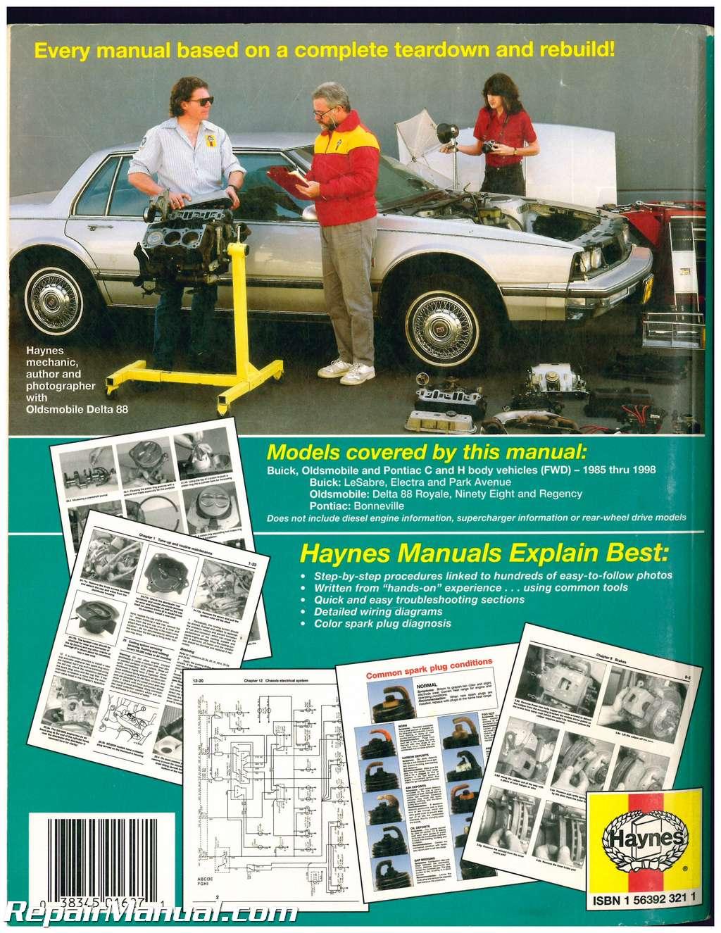 buick oldsmobile pontiac repair manual 1985 1998 haynes used rh repairmanual com 1998 buick park avenue service manual 98 buick park avenue repair manual