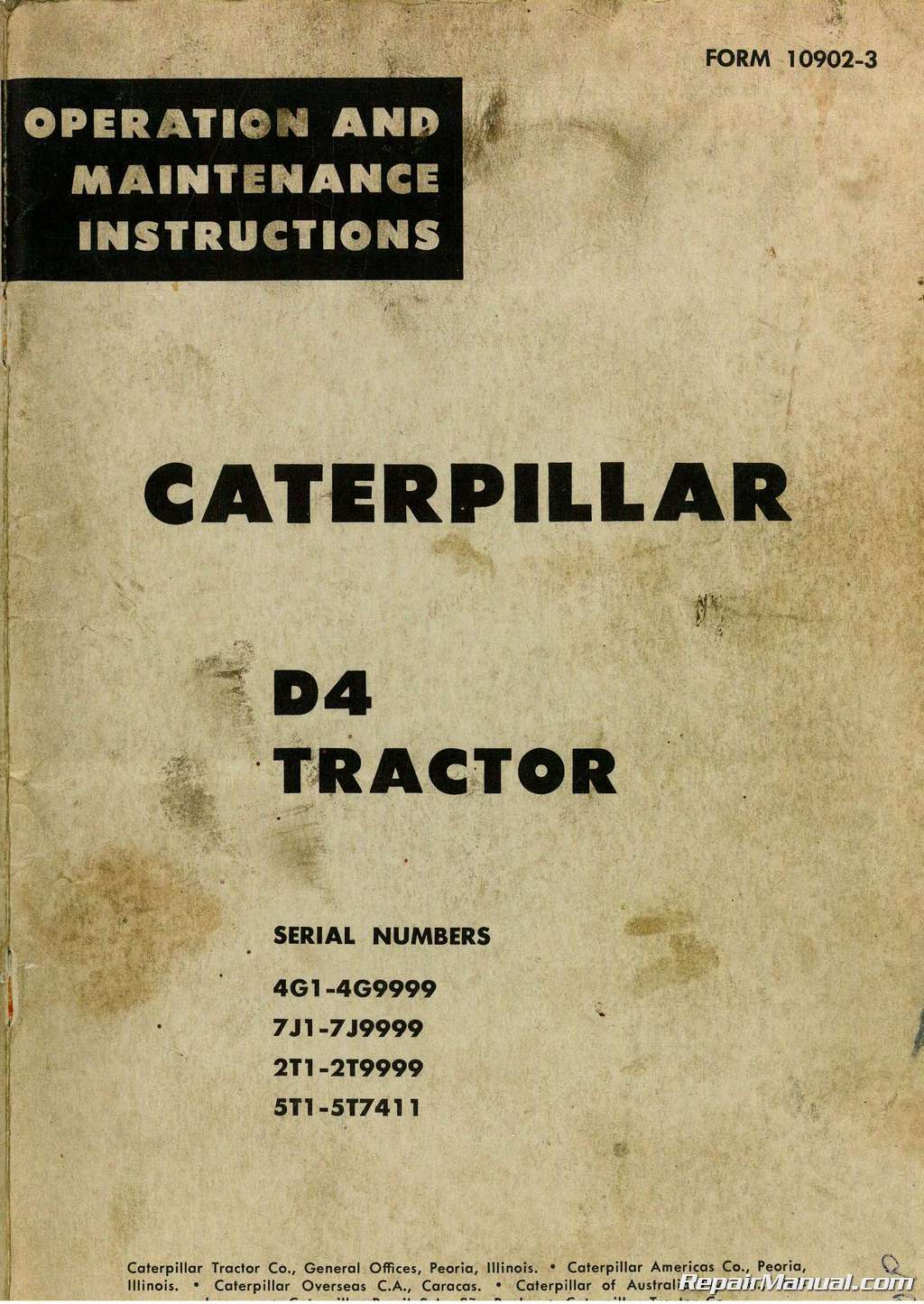 Caterpillar D4 Tractor Operators Manual