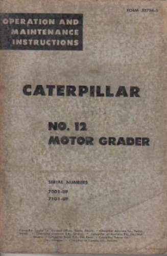 Used Caterpillar 12 Motor Grader Operators Manual