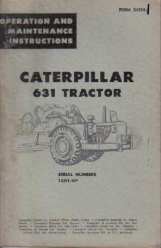 Used Caterpillar 631 Tractor Operators Manual