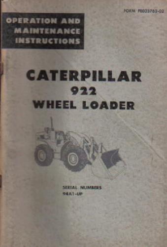 caterpillar 922 wheel loader operators maintenance manual rh repairmanual com caterpillar 930 wheel loader service manual caterpillar 950g wheel loader service manual pdf