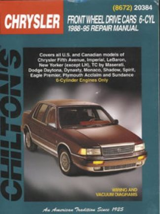 Chilton Chrysler Front Wheel Drive Cars - 6-Cyl 1988-1995 Repair Manual
