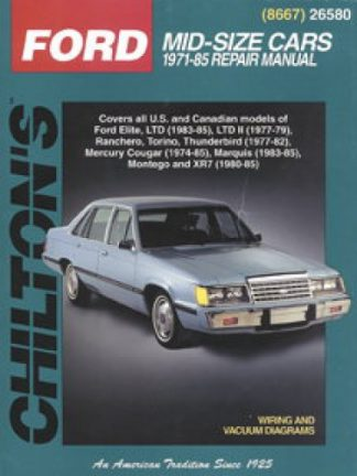 Used Chilton Ford Mercury Mid size cars 1971-1985 Repair Manual