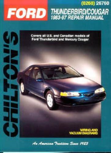 chilton ford thunderbird mercury cougar 1983 1997 repair manual rh repairmanual com 1997 Mercury Cougar XR7 Body Kits 1997 Mercury Cougar Rear Springs