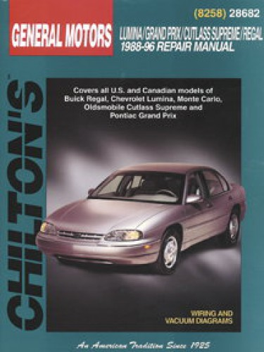 chilton gm lumina grand prix cutlass supreme regal 1988 1996 repair rh repairmanual com 1987 Cutlass Supreme 1987 Cutlass Supreme
