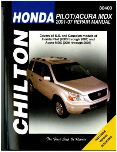 chilton honda pilot and acura mdx 2001 2007 repair manual. Black Bedroom Furniture Sets. Home Design Ideas