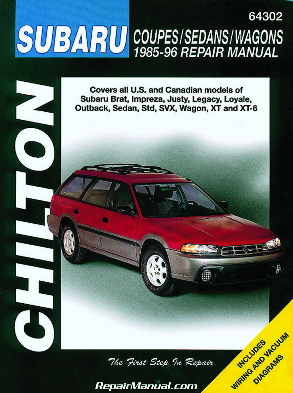 Subaru Brat Impreza Justy Legacy Loyale Outback Sedan Std SVX Wagon XT XT-6  1985-1996 Repair Manual