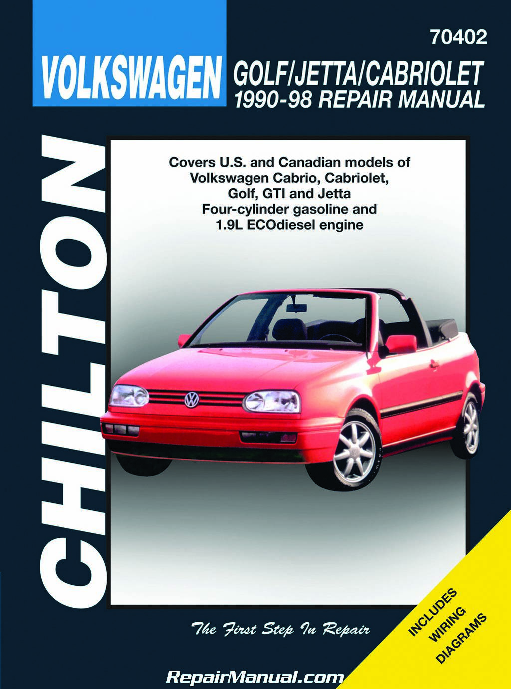 Chilton Volkswagen Cabrio, Cabriolet, Golf, GTI, Jetta 1990-1998 Repair  Manual