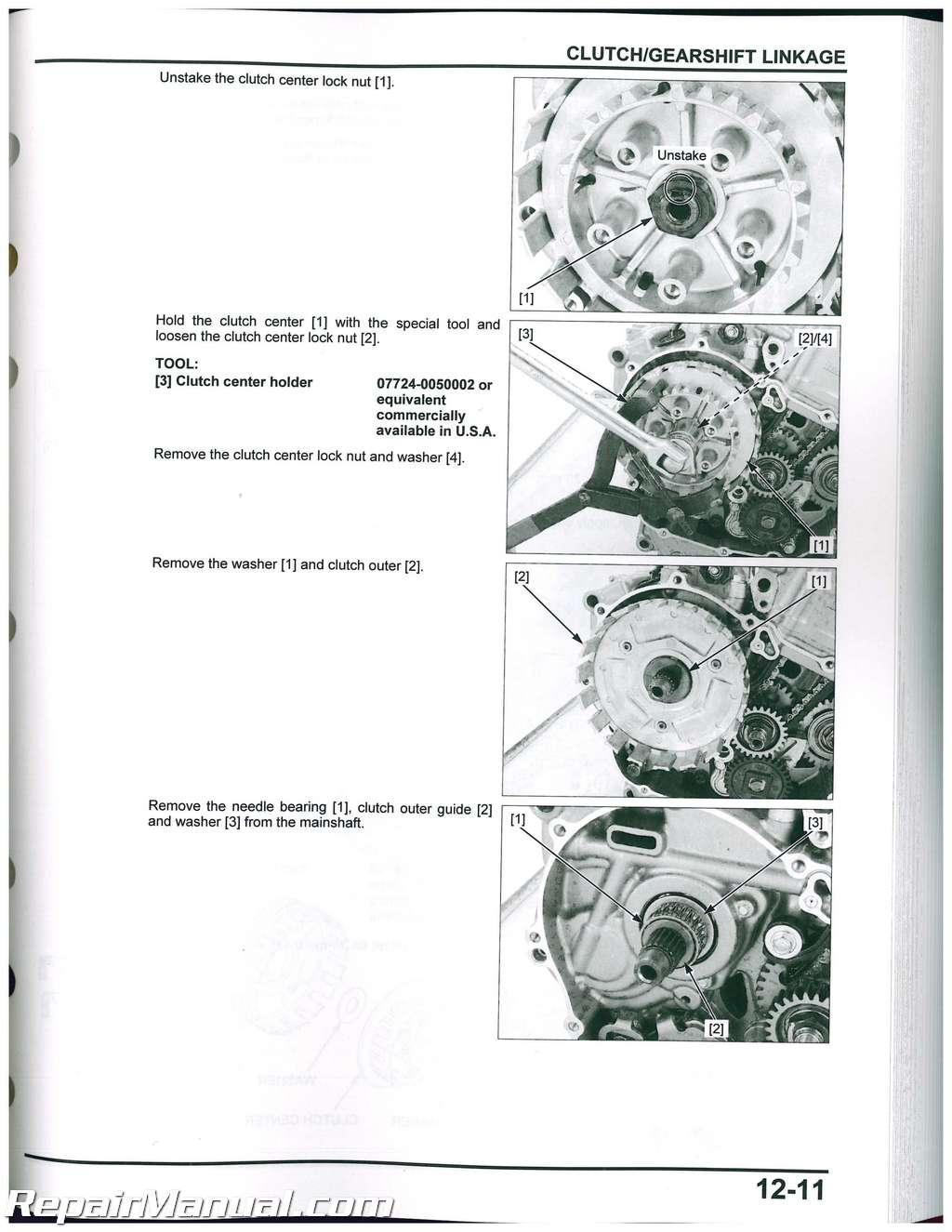 CRF250L Honda Motorcycle Service Manual 2013-2016 on