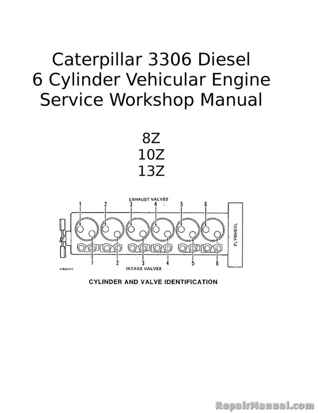 caterpillar 3306 diesel 6 cylinder vehicular engine service workshop manual