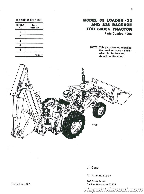 Case Backhoe Parts >> Case International 33 Loader Backhoe Only 580 Construction King Parts Manual