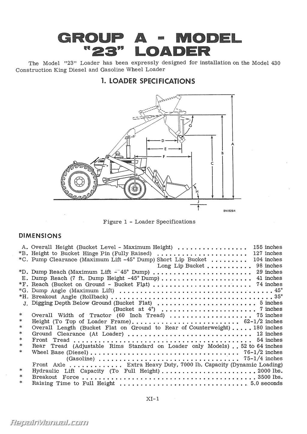 Case Service Manual 210B 310 Wheel Tractor, 310 310C Crawler, 430 530  Construction King Forklift 430 530 Construction King Tractor Loader Backhoe
