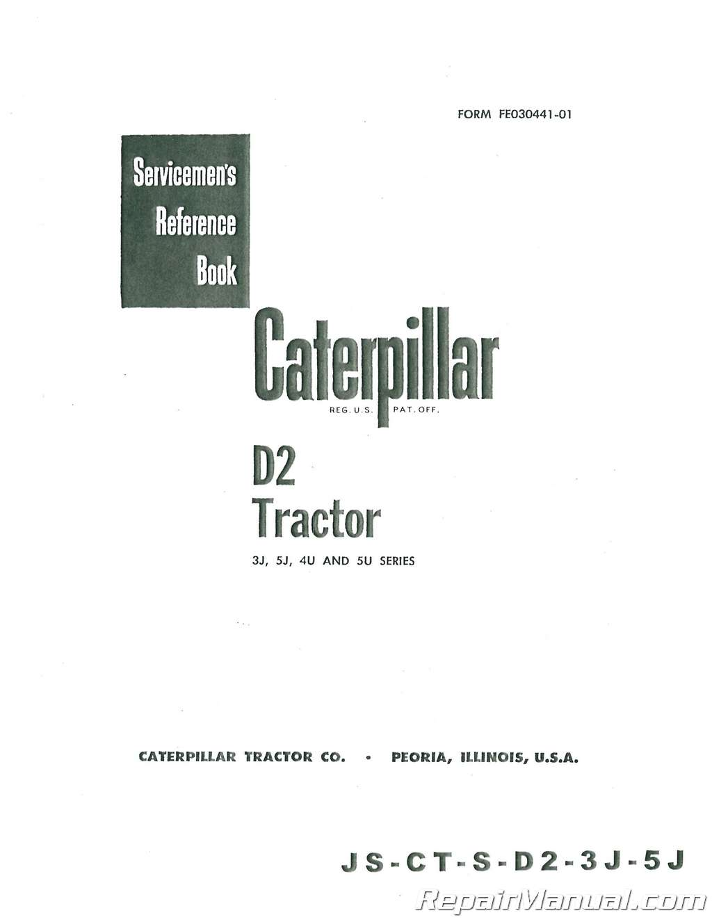 Caterpillar D2 Crawler Service Manual – Chassis Only