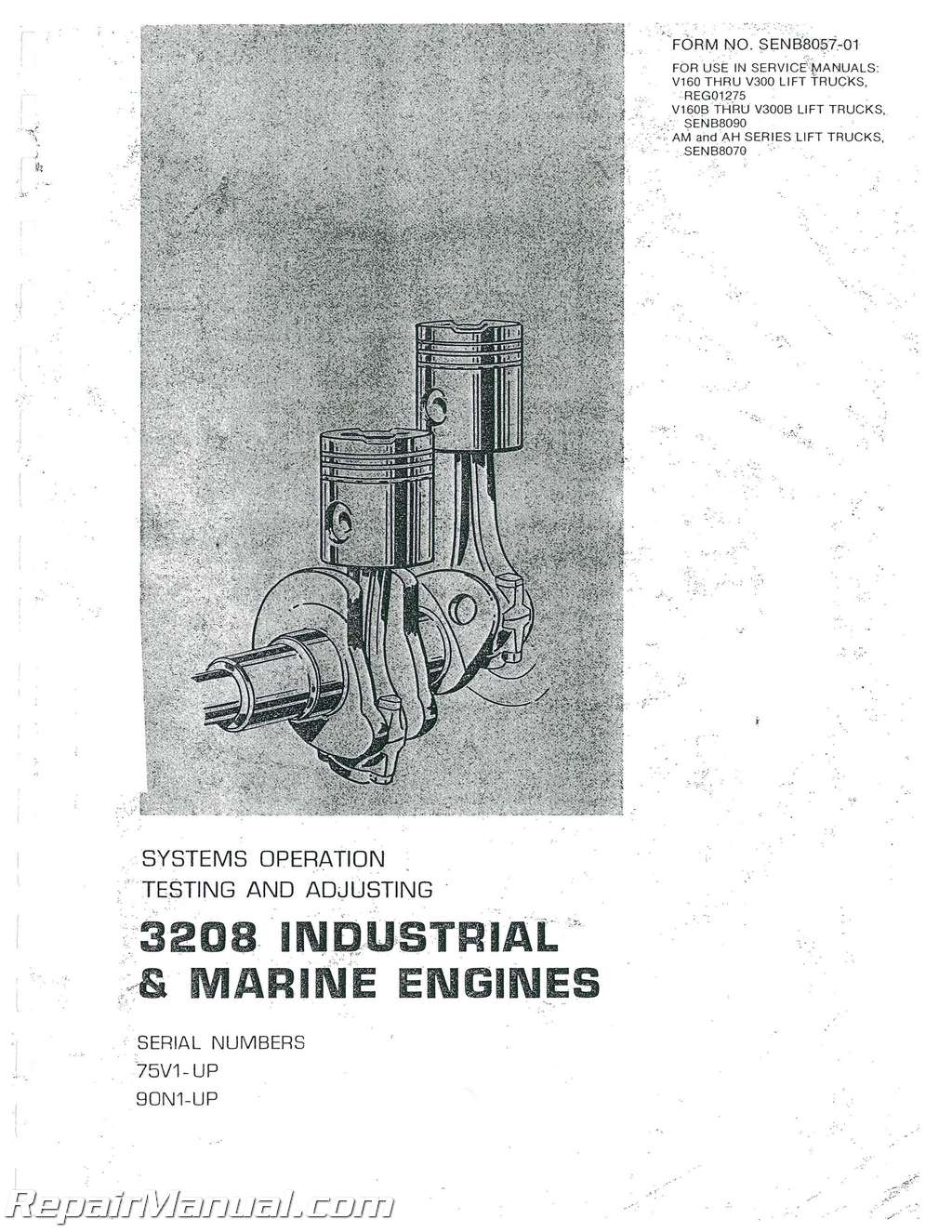 Repair Manual 3208 Cat Engine Diagram Caterpillar Ag Marine Early Service Ebay Rh Com Fuel Pump Parts