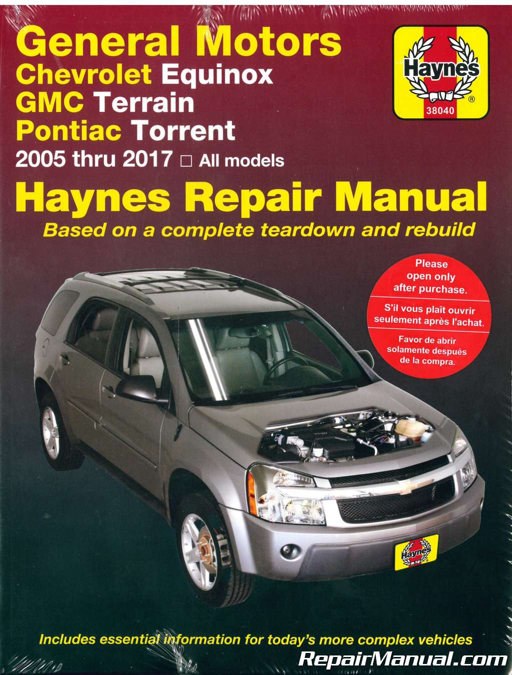Chevrolet Equinox GMC Terrain Pontiac Torrent 2005-2017 Haynes Repair Manual