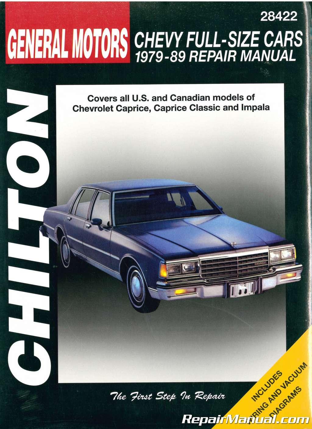chilton chevrolet full size cars 1979 1989 repair manual rh repairmanual com repair manuals for cars free repair manual for case 1845