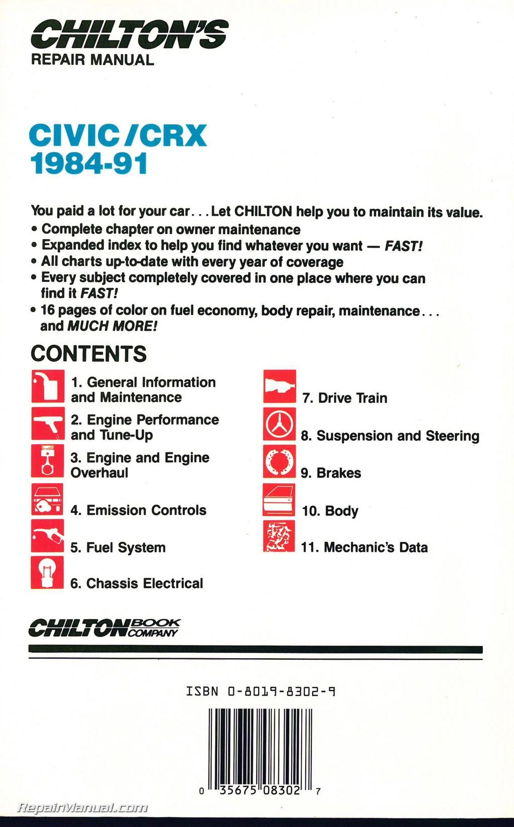Chilton    Honda Civic CRX 19841991 Repair    Manual