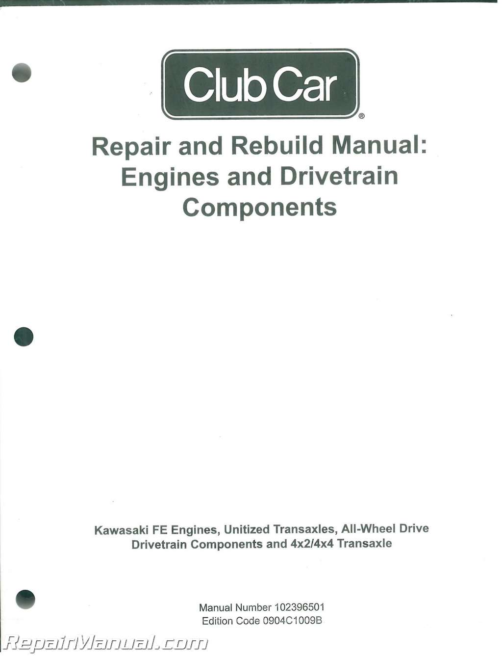 club car repair rebuild manual engine drivetrain components rh ebay com Club Car Engine Parts Club Car Kawasaki Engine Parts