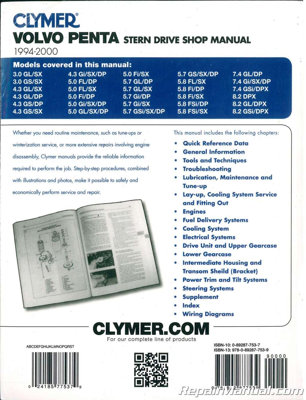 Clymer 1994 2000 Volvo Penta Stern Drive Boat Engine Repair Manual Diagram