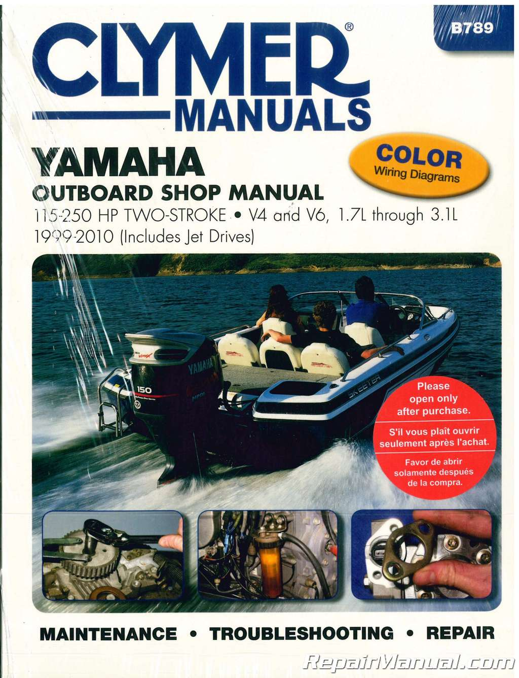 Clymer Yamaha 115 250 Hp Two Stroke Outboards 1999 2010 Boat Repair 99 Outboard Wiring Manual