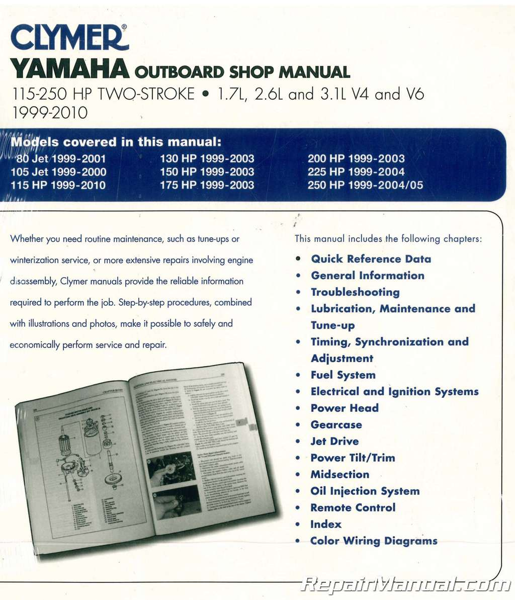 Clymer Yamaha 115-250 hp Two-Stroke Outboards 1999-2010 Boat Repair Manual