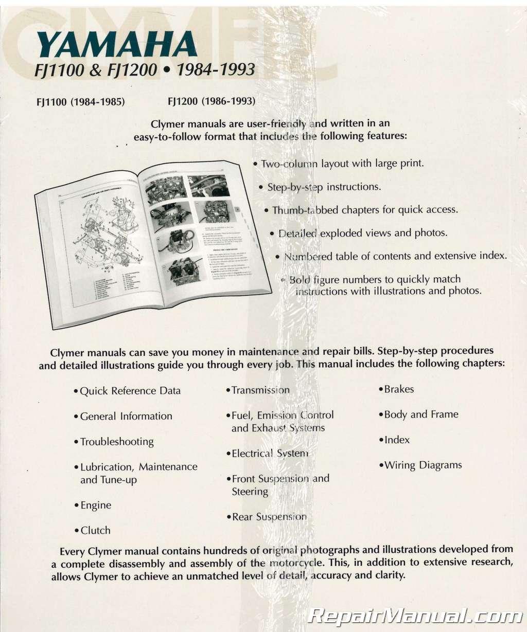 Clymer Yamaha Fj1100 Fj1200 1984 1993 Motorcycle Repair Manual