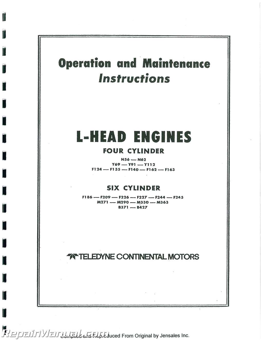 continental red seal l head engine service manual rh repairmanual com