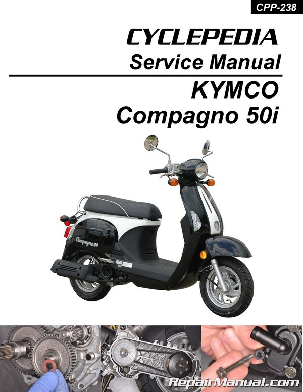 Cyclepedia Kymco Compagno 50i Scooter Printed Service Manual border=