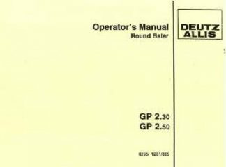 Deutz Allis Round Baler Manual GP 2.3 2.5 Operation Manual