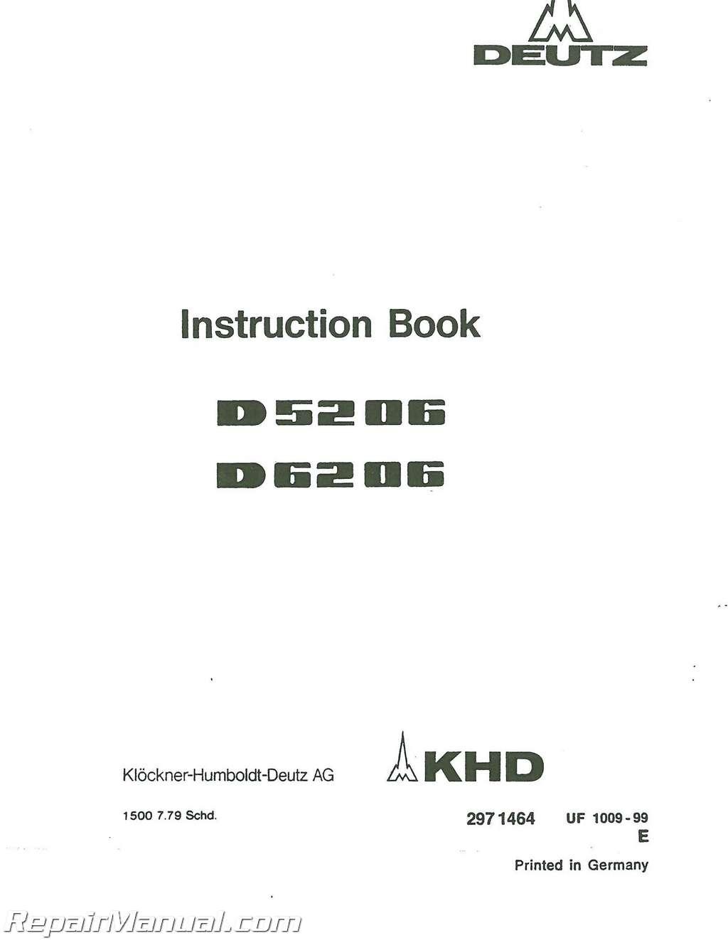 deutz allis d5206 d6206 tractor operators manual rh repairmanual com Deutz -Fahr Manual Deutz Tractors