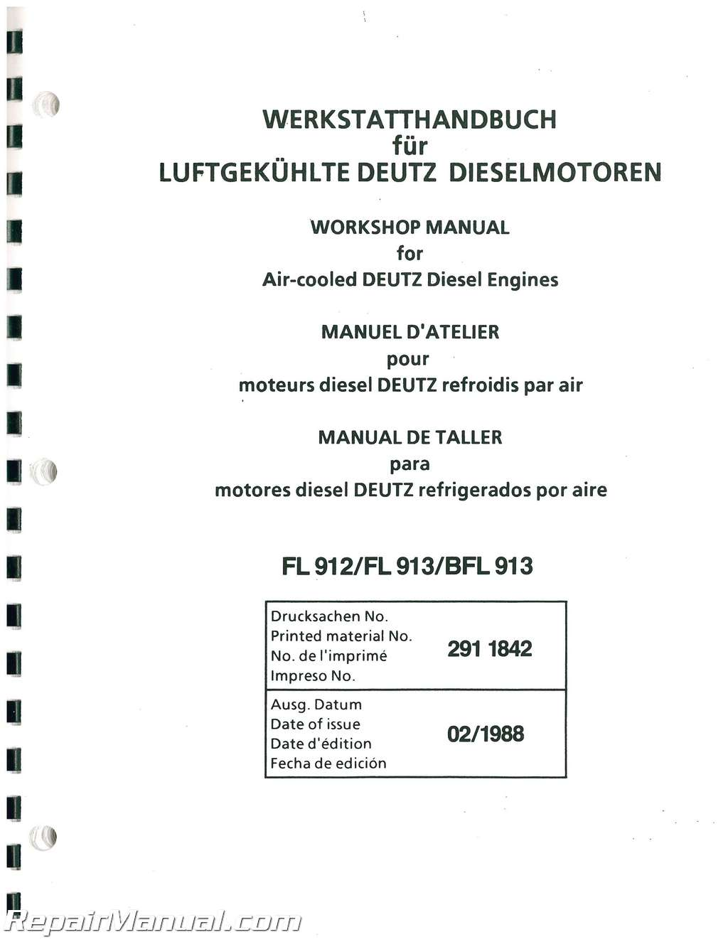 [DIAGRAM_34OR]  1BDA Deutz Engine B Fl413 Fw Workshop Manual | Wiring Library | Deutz Engine Schematics |  | Wiring Library