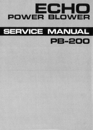 Echo PB200 Power Blower Service Manual