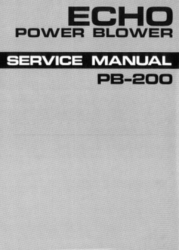 Echo Power Blower Pb 200 : Echo pb power blower service manual