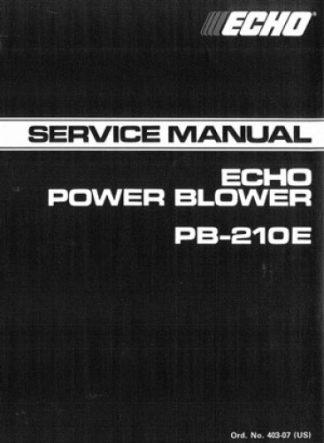 Echo PB-210E Power Blower Service Manual