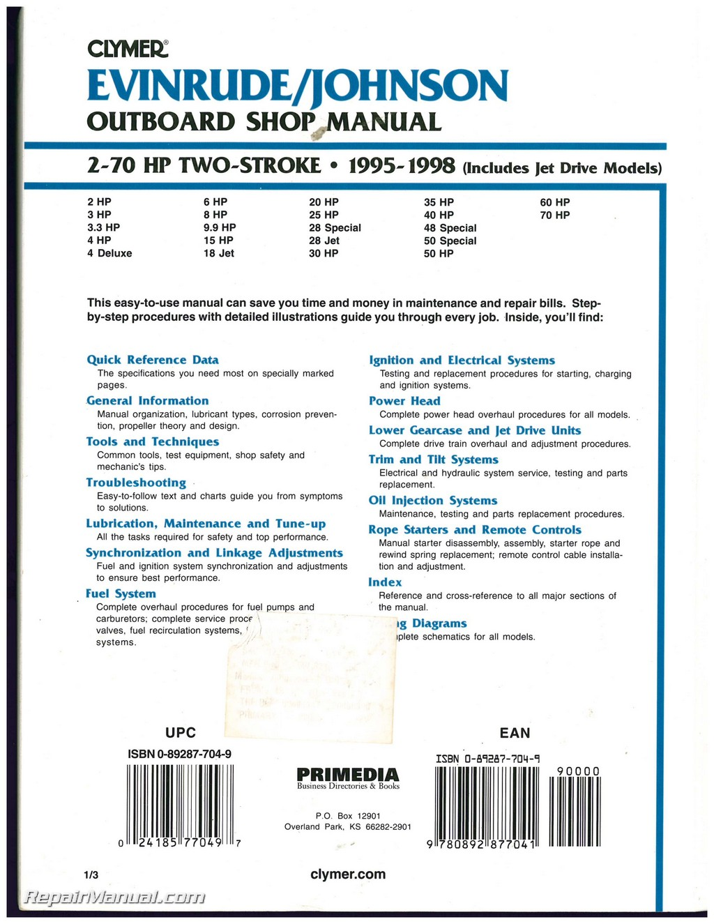 Evinrude Johnson 2-70 HP 2-Stroke Outboard Boat Shop Manual 1995 1996 1997  1998