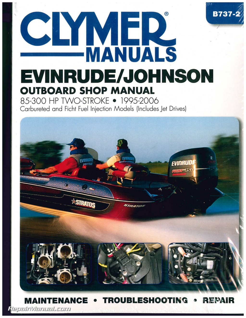 Evinrude-Johnson 85-300 hp 1995-2006 Clymer Outboard Engine Boat Repair  Manual