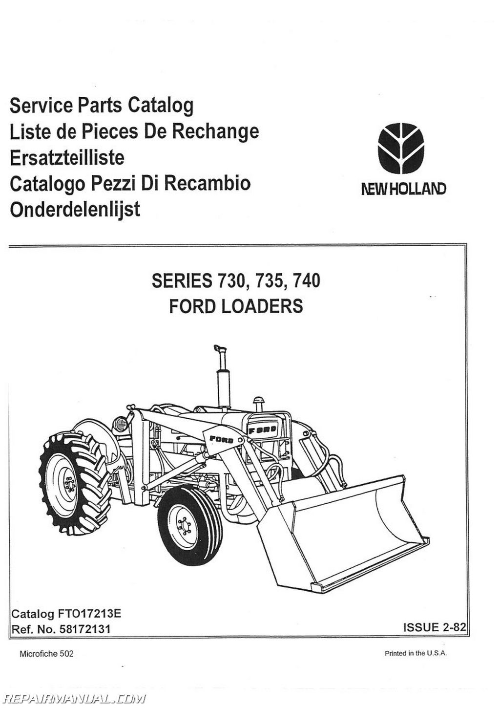 Ford 3550 4500 Ind 3 Cyl Loader Only 730 735 740 Parts Manual Diagrams