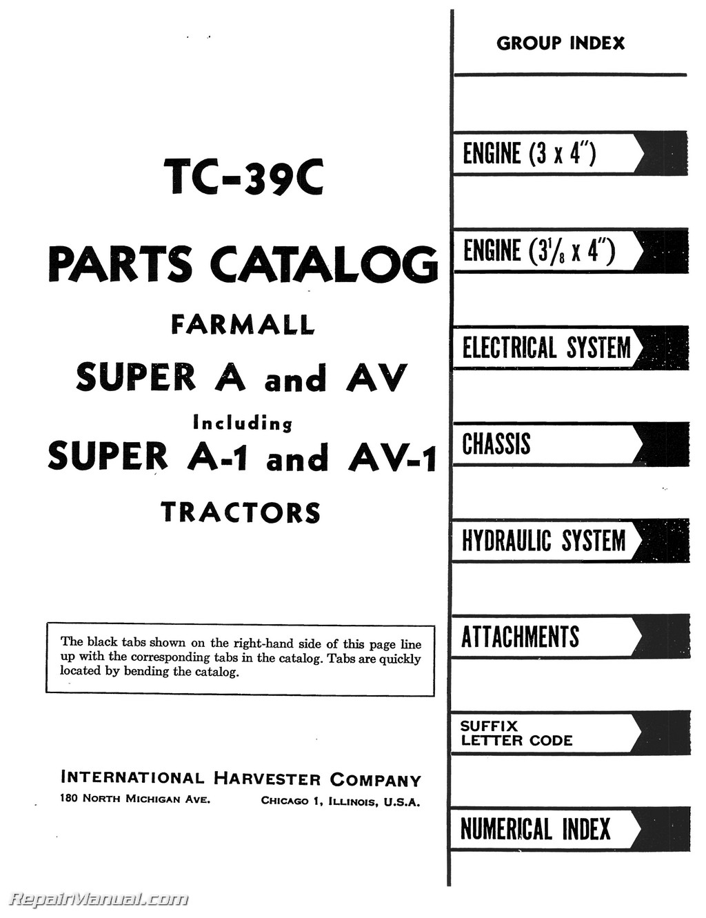 Farmall Super A AV A-1 AV-1 Tractor Parts Manual