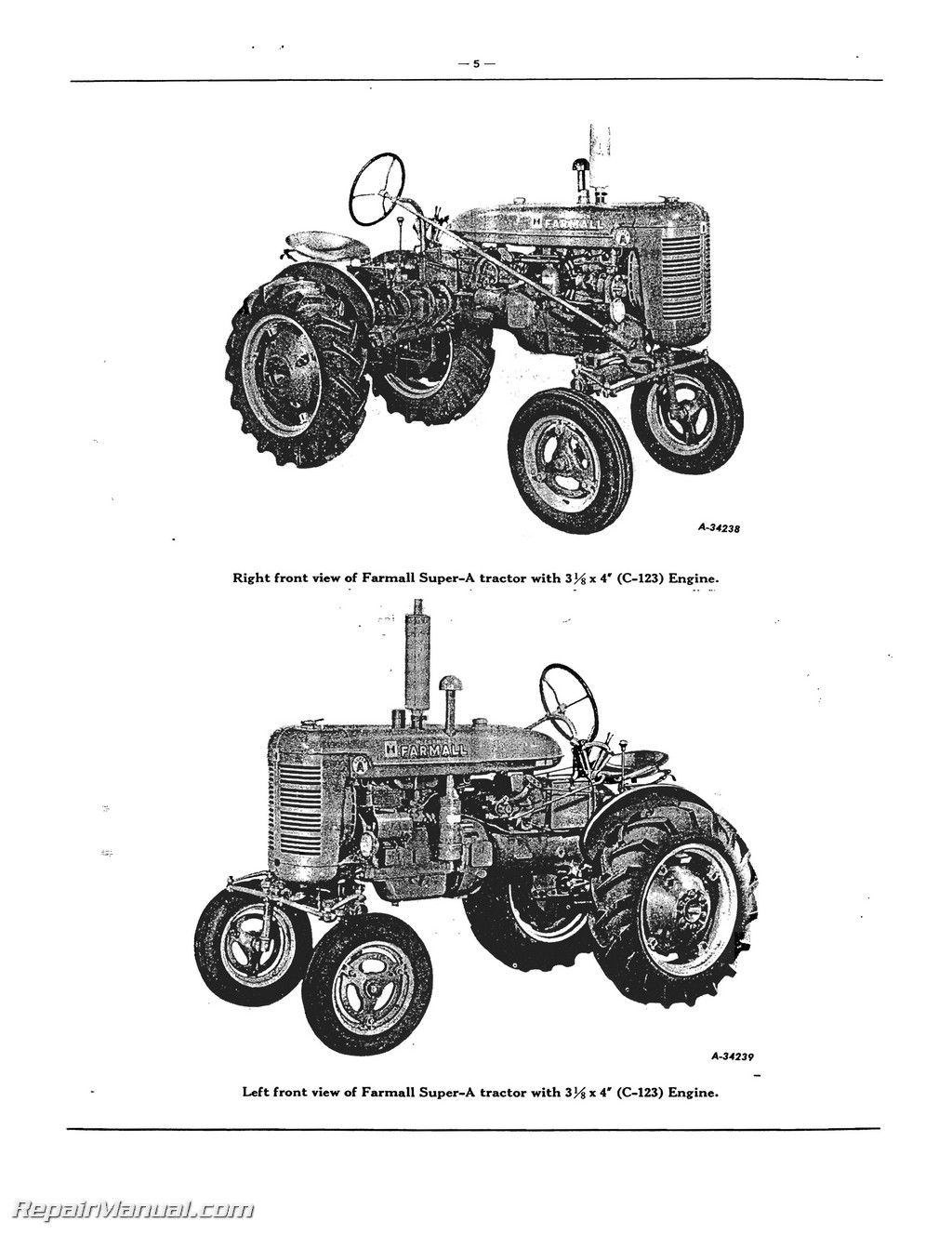 Farmall Super A Av A 1 Av 1 Tractor Parts Manual Yanmar Tractor Diagram  Farmall Tractor Diagram