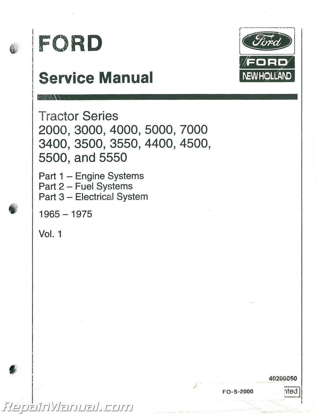 Ford 2000 3000 3400 3500 3550 4000 4400 4500 5000 5500 5550 7000 Service  Manual