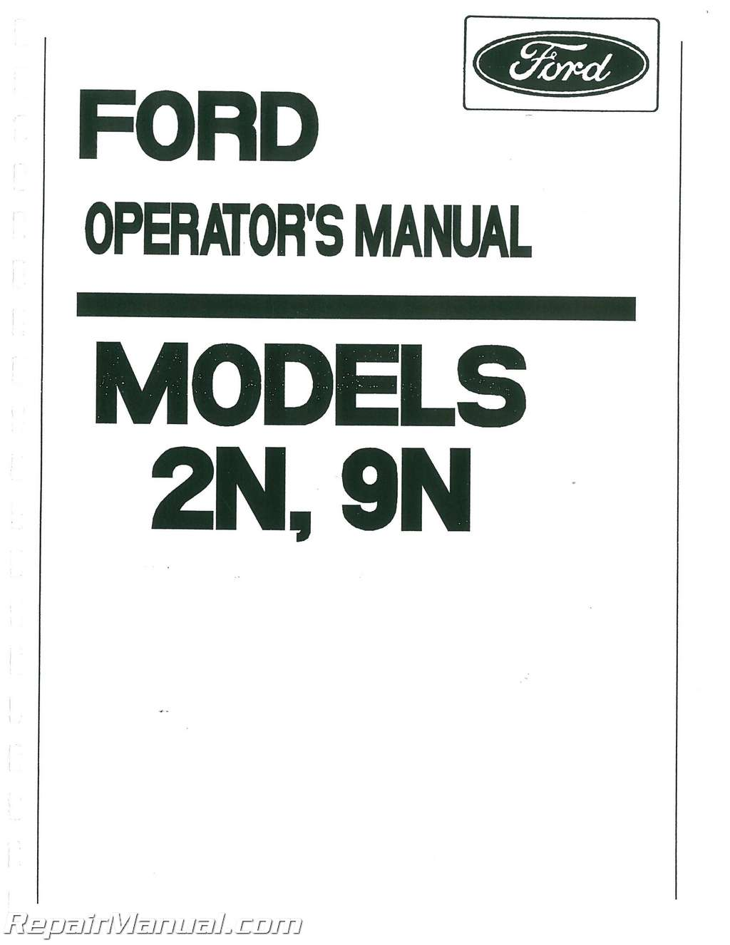 ford 2n 9n tractor operators manual rh repairmanual com ford 2n service manual pdf ford 9n service manual